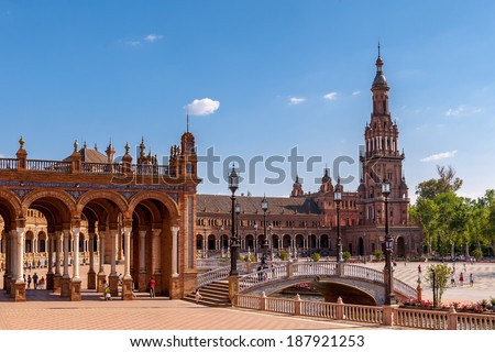 Central building at the Plaza de Espana in Seville, Andalusia, Spain. One of the most beautiful places in Seville - stock photo