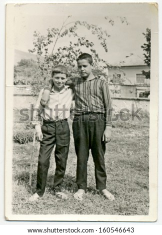 CENTRAL BULGARIA, BULGARIA - CIRCA 1965 - Two children, siblings, brothers circa 1965 - stock photo
