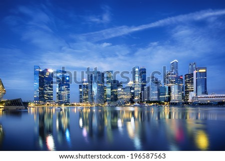 Central business district in Singapore.  - stock photo