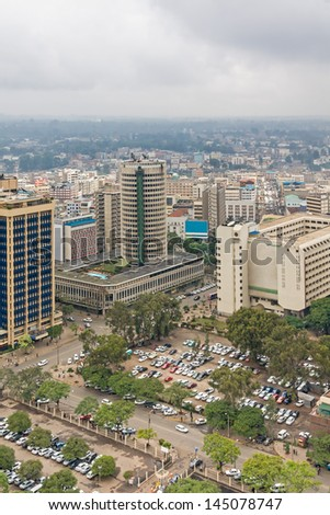 Central business district of Nairobi capital of Kenya. Panorama viewed from helipad on the roof of Kenyatta International Conference Centre (KICC) 30-storey building the highest point in the city.   - stock photo