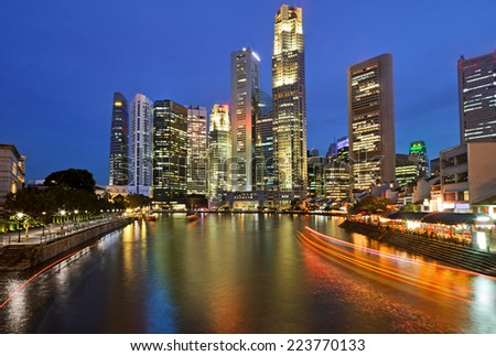 Central Business District  of Singapore at night. - stock photo