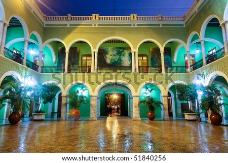 Central Courtyard of the Governors Building at night, Merida, Yucatan, Mexico - stock photo