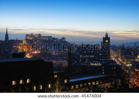 Central Edinburgh, Scotland, UK, at nightfall in winter - stock photo