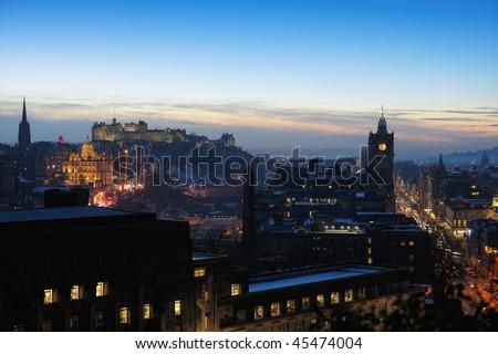 Central Edinburgh, Scotland, UK, at nightfall in winter - stock photo