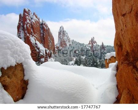 Central Garden of the Gods after a fresh snowfall in winter near Colorado Springs, Colorado - stock photo