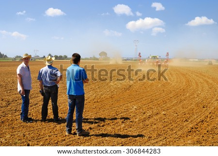 CENTRAL ITALY- JUNE 23: Agricultural fair with free admission, including displays of tractors and agricultural machinery, crowded with farmers and landowners. June 23, 2013 in Latina, Central Italy - stock photo