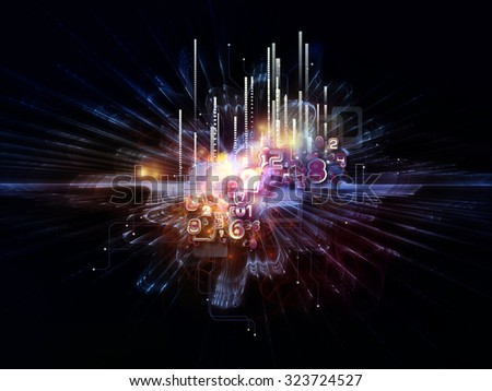 Central Numbers series. Interplay of geometric bursts and numbers on the subject of science, education and technology - stock photo