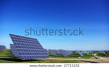 Central of photovoltaic panels. - stock photo