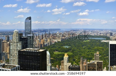 Central Park aerial view, Manhattan, New York, high quality panorama - stock photo