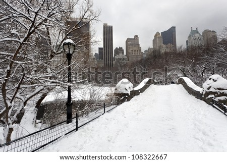 Central Park after snow storm in New York City - stock photo