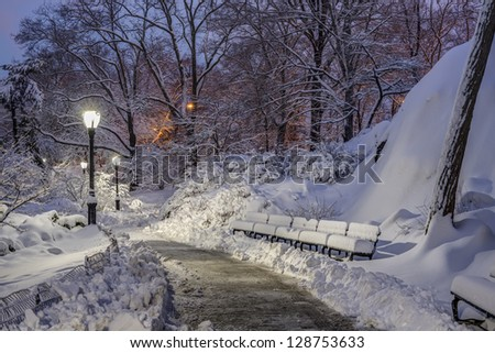 Central Park after snow storm in the early morning hours - stock photo