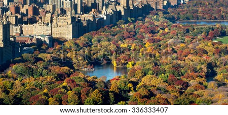 Central Park and Manhattan, Upper West Side with colorful Fall foliage. The aerial view includes buildings of Central Park West, The Lake and the Jacqueline Kennedy Onassis Reservoir. New York City. - stock photo
