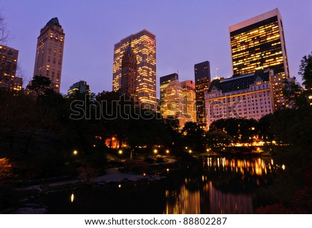 Central Park at dusk. New York City - stock photo