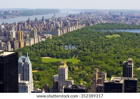 Central Park bird's eye view. - stock photo