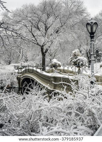 Central Park Bow Bridge during a snow storm New York City - stock photo