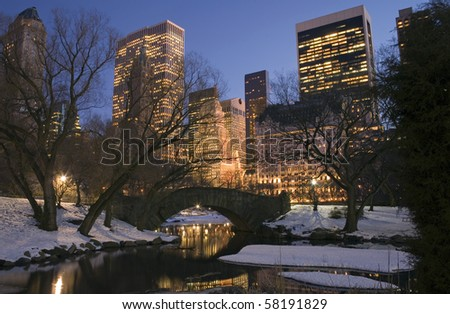 Central Park by the pond on 59th street in winter, New York City. - stock photo
