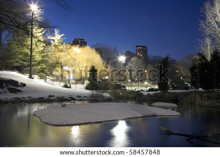 Central Park by Wollman rink and the pond in New York City. - stock photo