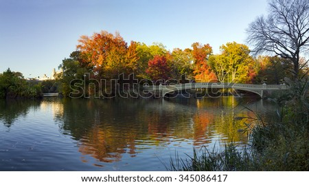 Central Park Colorful Fall Panoramic Landscape Scene in Manhattan, New York City - stock photo