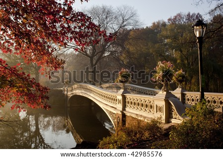 Central Park in late autumn in the early morning at the bow brdige - stock photo