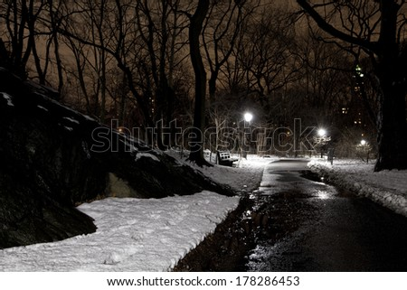 Central park in New York City during night time at winter. - stock photo