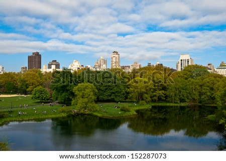 Central Park Lake, New York City, USA. - stock photo