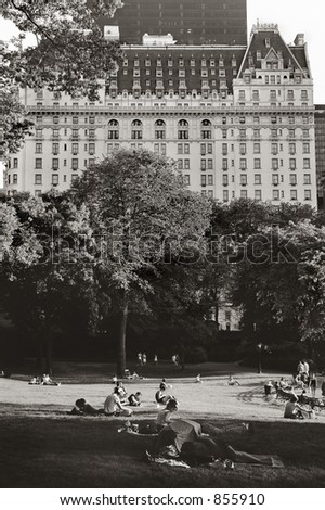 Central Park of New York, Dakota  Building - stock photo