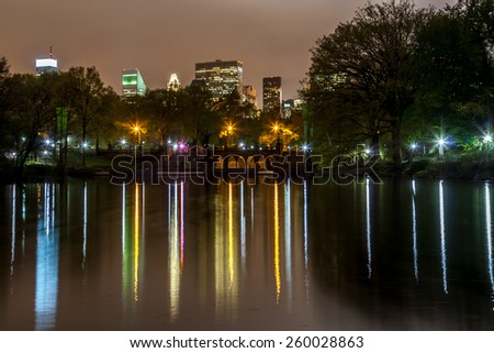 Central Park reflected lights.  - stock photo