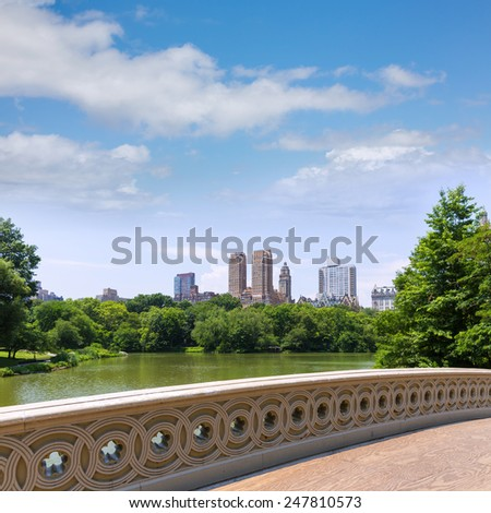 Central Park The Lake Bow Bridge New York US - stock photo