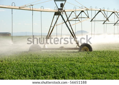 Central pivot irrigation system watering an alfalfa field in the Christmas Valley area of central Oregon's high desert. - stock photo