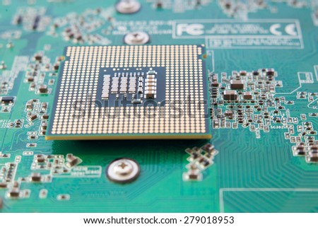 Central Processing Unit (CPU) on the motherboard - stock photo