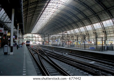 Central railway station in Amsterdam - stock photo