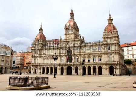 Central Square in La Coruna, Spain - stock photo