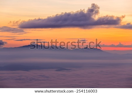 Central Valley in the morning mist. - stock photo
