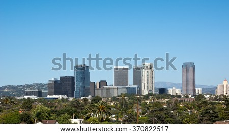 Century City skyscrapers sit near Los Angeles in early 2015. Construction had just begun on renovating the mall, including one of the skyscrapers on the far left.  - stock photo