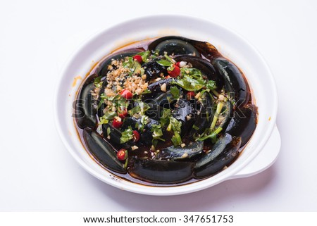 century egg Isolated on white background - stock photo