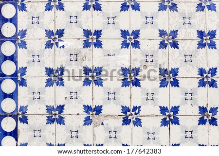 Ceramic azulejo tiles outside the old building in Lisbon, Portugal. - stock photo