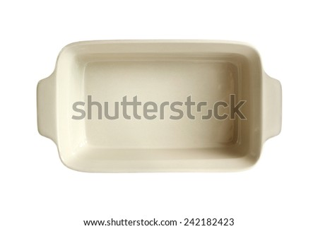 Ceramic baking dish isolated on white background with clipping path - stock photo