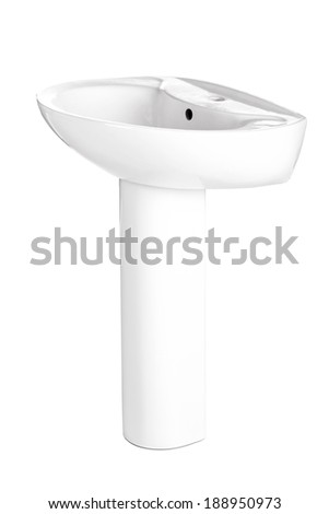 ceramic bathroom sink, isolated on white background - stock photo