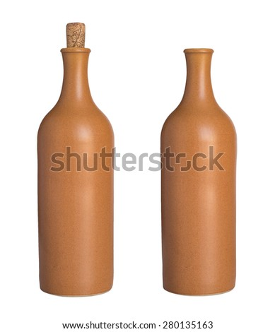 Ceramic bottle with a cork and without isolated on white background. - stock photo
