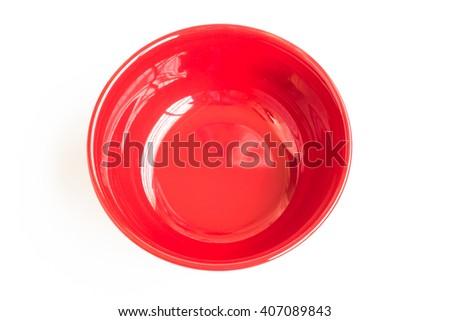 ceramic bowl isolated on the white background / Top view red empty bowl isolated on white background - stock photo