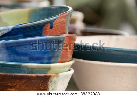 Ceramic Bowls at the Boise Saturday Market - stock photo