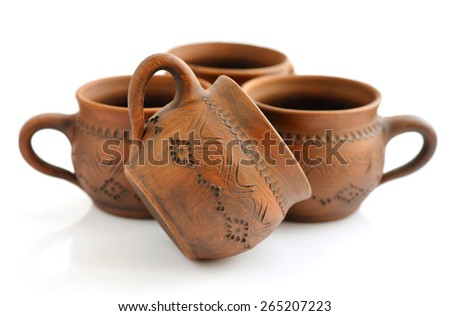 Ceramic cup on a white background - stock photo