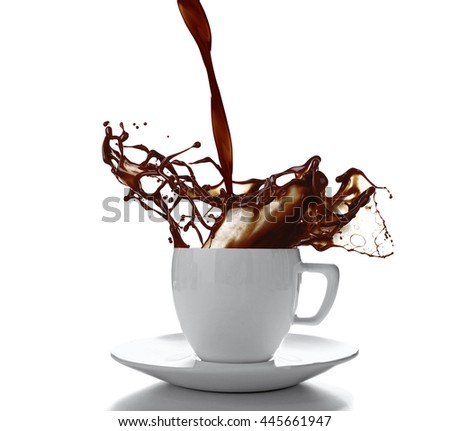 Ceramic cup with splashing coffee isolated on white - stock photo
