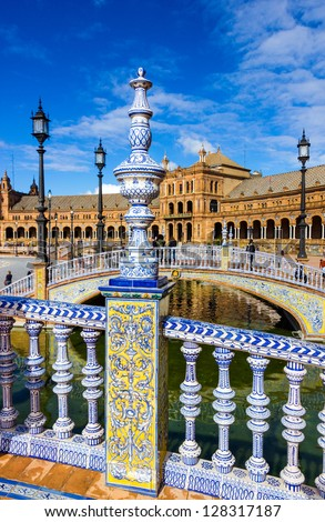 Ceramic fence in Plaza de Espana in Seville, Spain. - stock photo