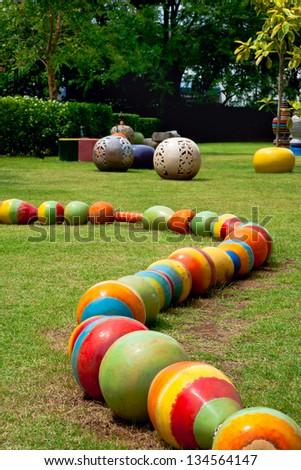 Ceramic garden. - stock photo