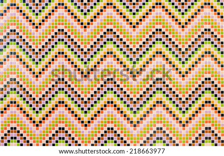 Ceramic glass colorful tiles mosaic composition pattern background - stock photo