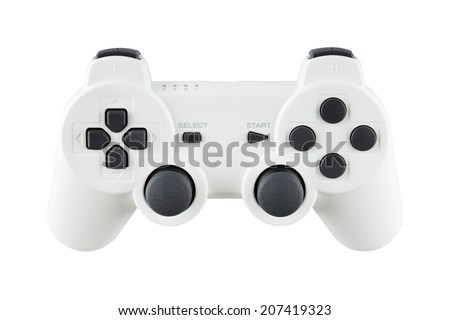 ceramic gray gamepad, isolated on white background - stock photo