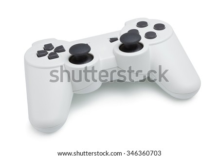 ceramic gray gamepad, isolated on white background - stock photo