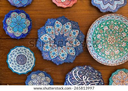 Ceramic handicraft on display at Dubai Souq - stock photo