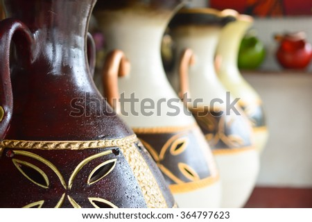 Ceramic handycrafts sold in the shops along the main road of San Juan Oriente in the highlands between Granada and Masaya, Nicaragua. Shallow DOF - stock photo